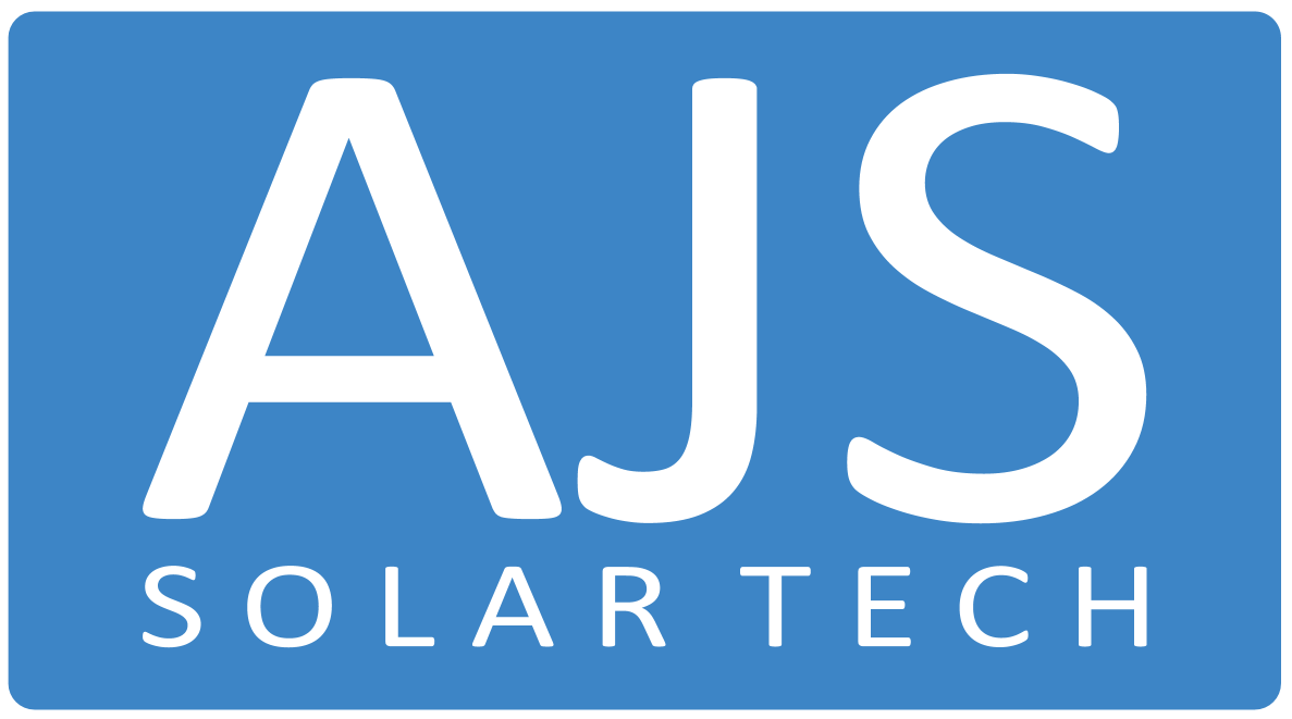 LARGE AJS SolarTech Basic Logo (Blue Background)